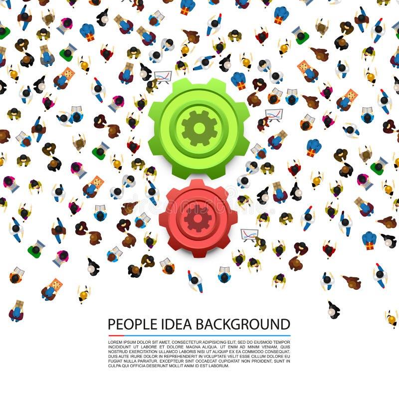 Άνθρωποι γύρω από τα εργαλεία σε ένα άσπρο υπόβαθρο ελεύθερη απεικόνιση δικαιώματος