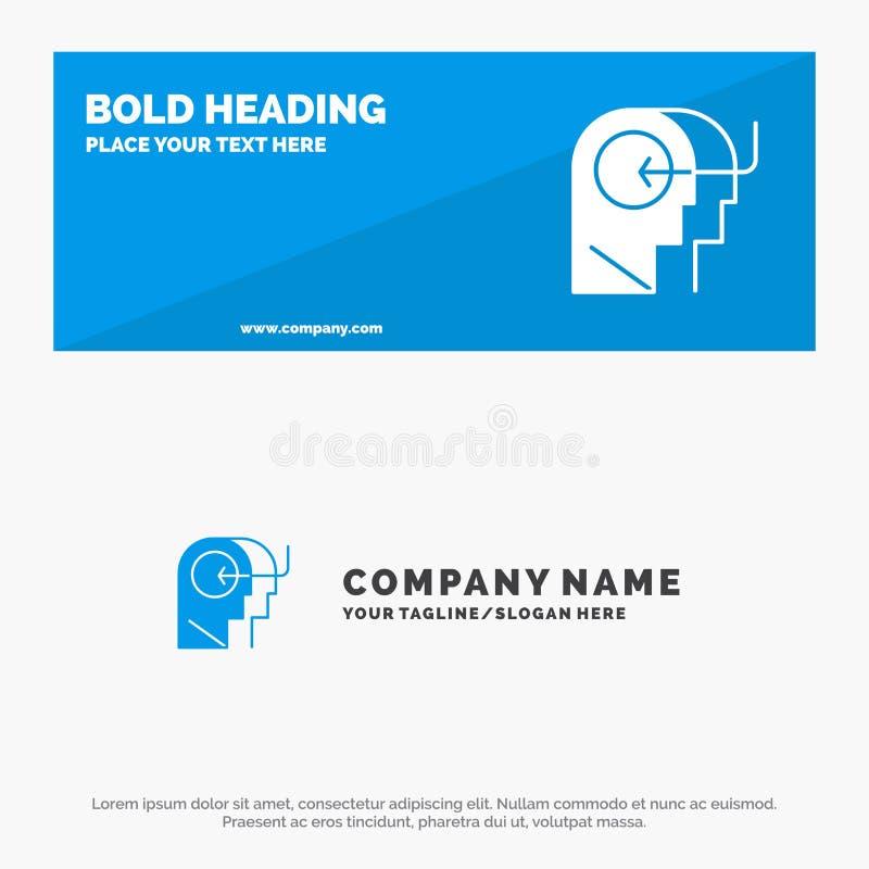 Άνθρωποι, διδασκαλία, κεφάλι, στερεά έμβλημα ιστοχώρου εικονιδίων μυαλού και πρότυπο επιχειρησιακών λογότυπων ελεύθερη απεικόνιση δικαιώματος