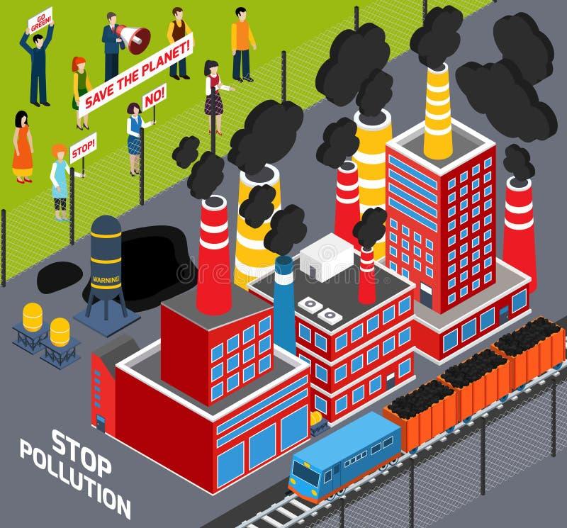 Άνθρωποι ενάντια στη βιομηχανική ρύπανση ελεύθερη απεικόνιση δικαιώματος