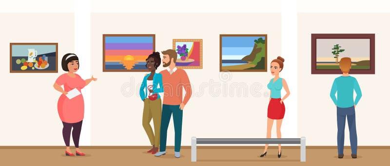 Άνθρωποι επισκεπτών μουσείων στο μουσείο στοών έκθεσης τέχνης που παίρνει το γύρο με τον οδηγό και που φαίνεται διάνυσμα φωτογραφ απεικόνιση αποθεμάτων