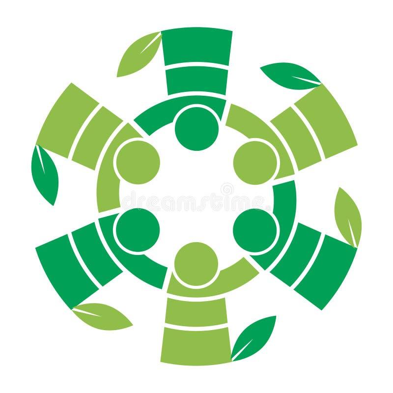 Άνθρωποι εργασίας ομάδων οικογενειακών δέντρων με το λογότυπο φύλλων διανυσματική απεικόνιση