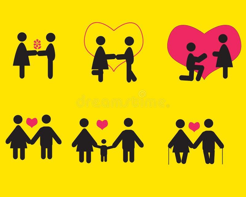 Άνθρωποι ερωτευμένοι, σύνολο εικονιδίων στοκ φωτογραφίες