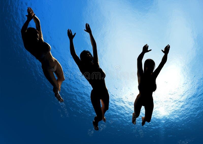 άνθρωποι κάτω από το ύδωρ απεικόνιση αποθεμάτων