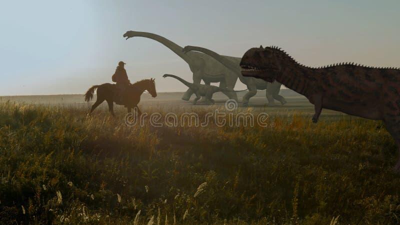 Άνθρωποι και δεινόσαυροι Ρεαλιστική ζωτικότητα Όψη τοπίων στοκ φωτογραφία με δικαίωμα ελεύθερης χρήσης