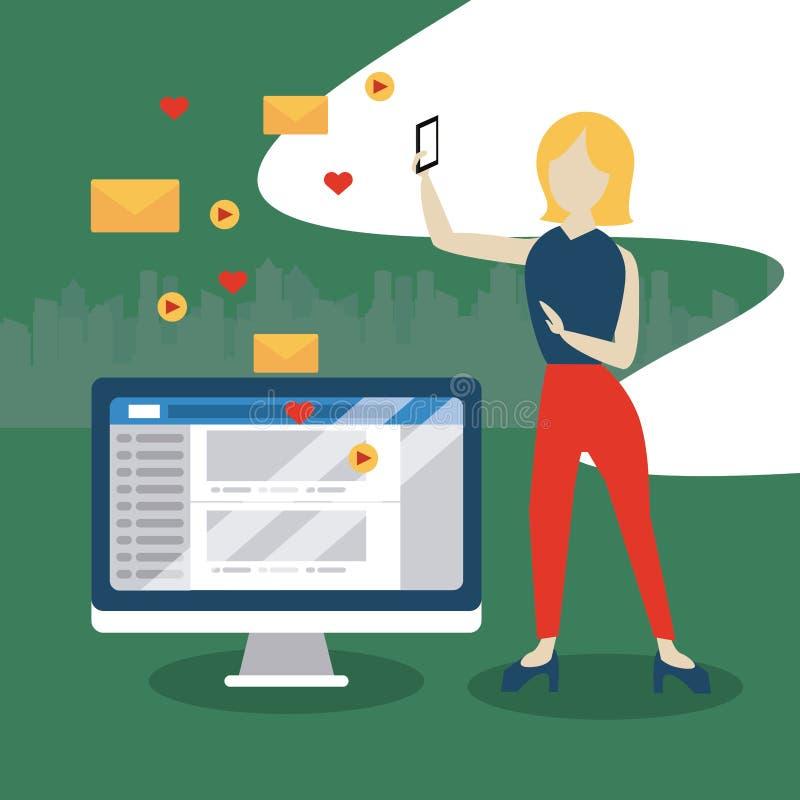 Άνθρωποι και κοινωνικά μέσα και δίκτυο διανυσματική απεικόνιση