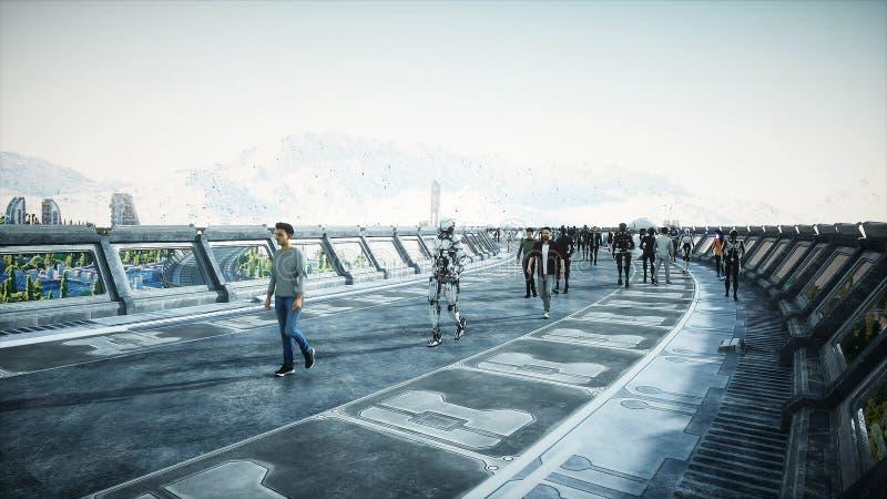Άνθρωποι και ρομπότ Sci FI tonnel Φουτουριστική κυκλοφορία Έννοια του μέλλοντος r στοκ εικόνες
