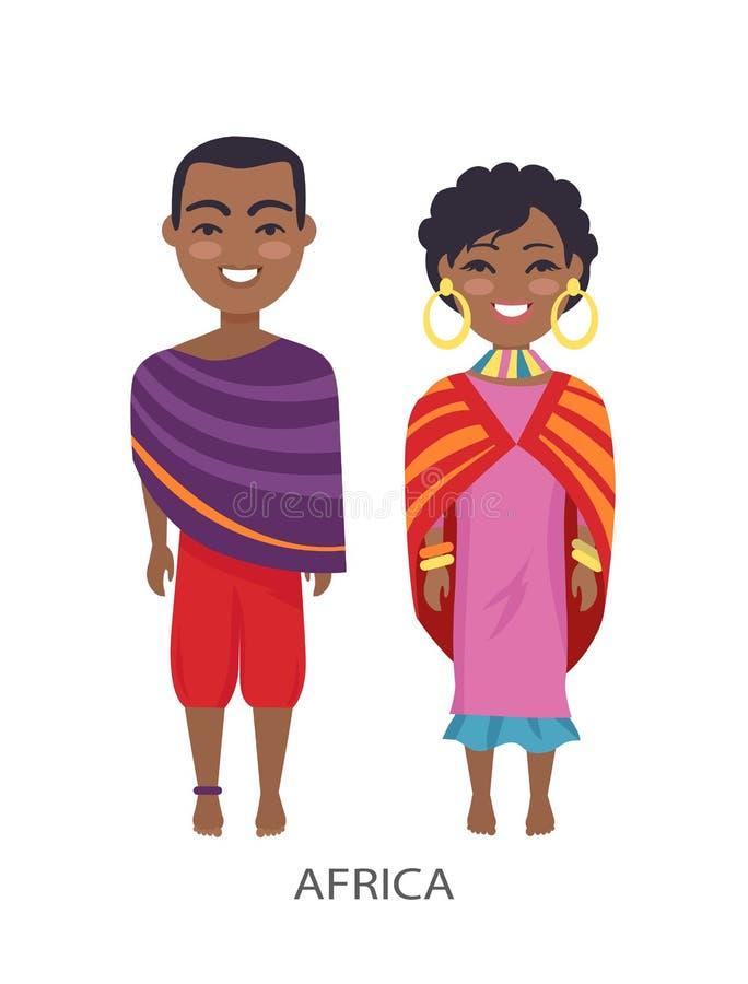 Άνθρωποι και τελωνείο της Αφρικής στη διανυσματική απεικόνιση απεικόνιση αποθεμάτων