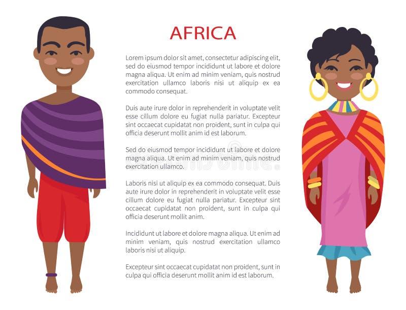 Άνθρωποι και τελωνείο της Αφρικής στη διανυσματική απεικόνιση διανυσματική απεικόνιση