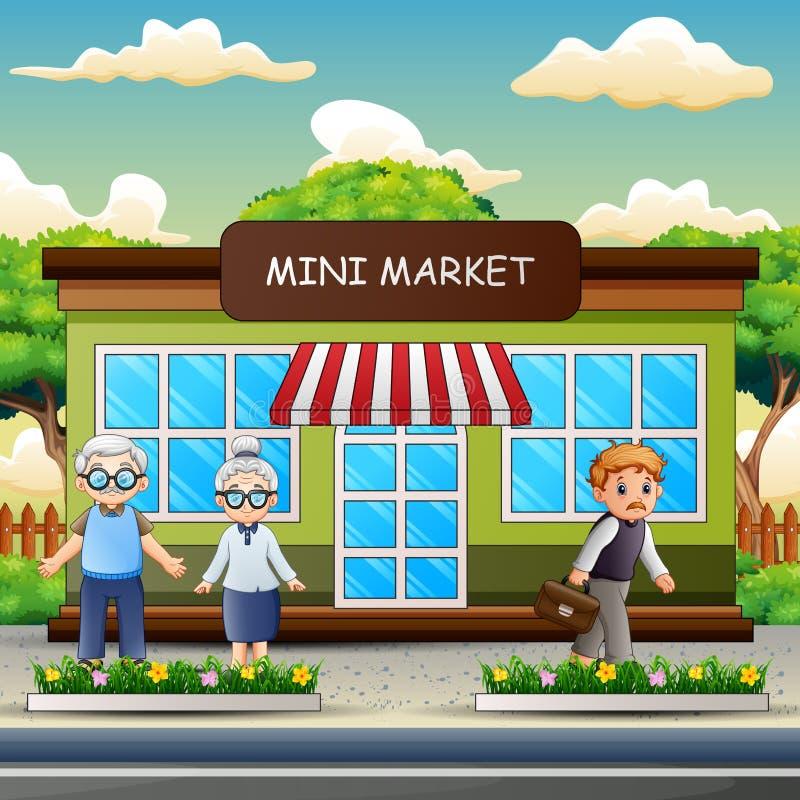 Άνθρωποι κινούμενων σχεδίων στο μέτωπο η μίνι αγορά διανυσματική απεικόνιση