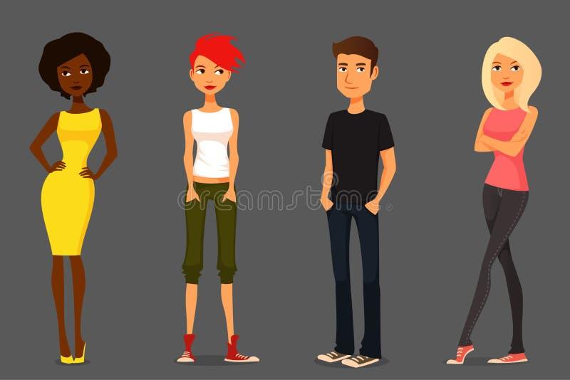 Άνθρωποι κινούμενων σχεδίων στις διάφορες εξαρτήσεις απεικόνιση αποθεμάτων