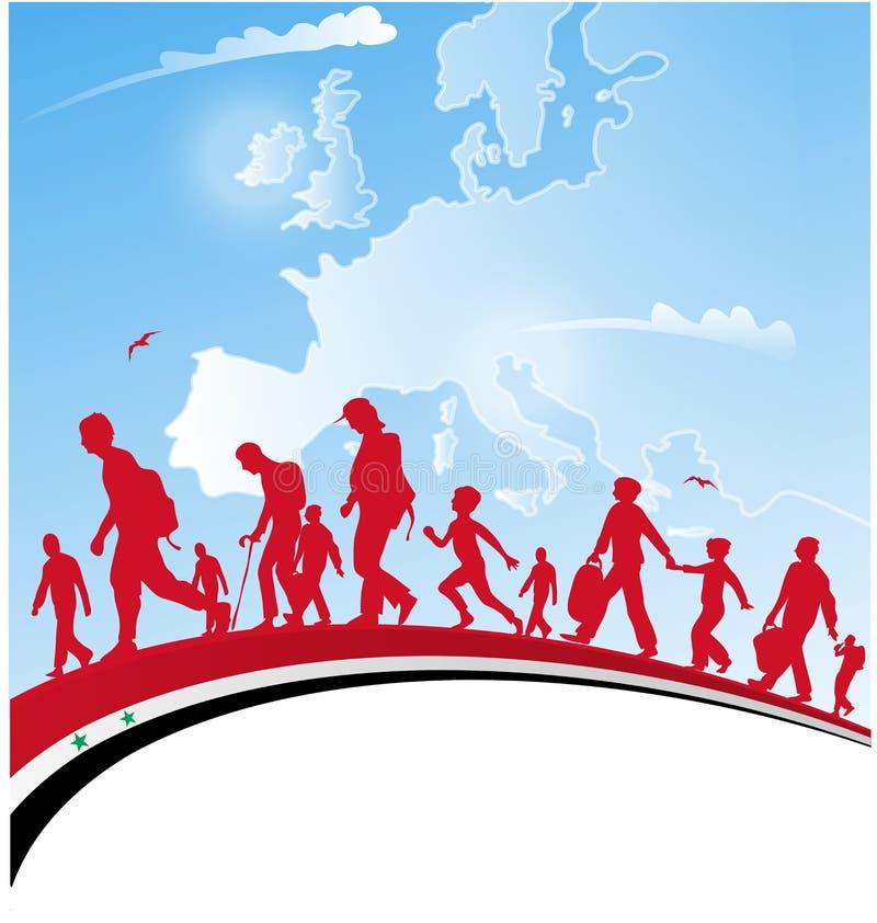 Άνθρωποι μετανάστευσης με τη συριακή σημαία διανυσματική απεικόνιση