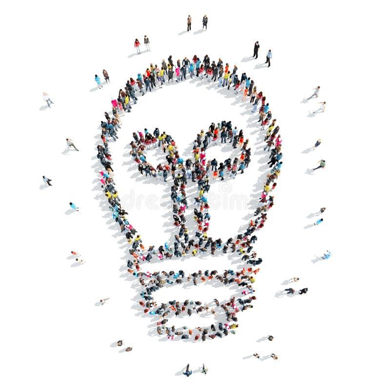 Άνθρωποι με μορφή του λαμπτήρα ελεύθερη απεικόνιση δικαιώματος