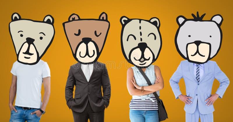 Άνθρωποι με τα ζωικά επικεφαλής πρόσωπα αρκούδων στοκ εικόνες με δικαίωμα ελεύθερης χρήσης