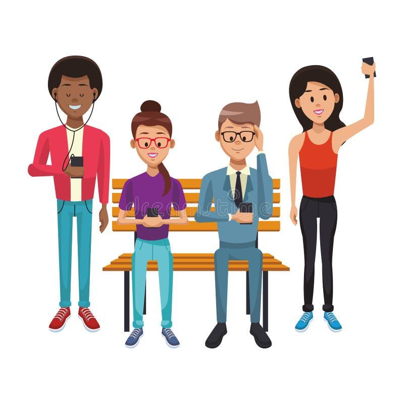 Άνθρωποι με τα smartphones διανυσματική απεικόνιση
