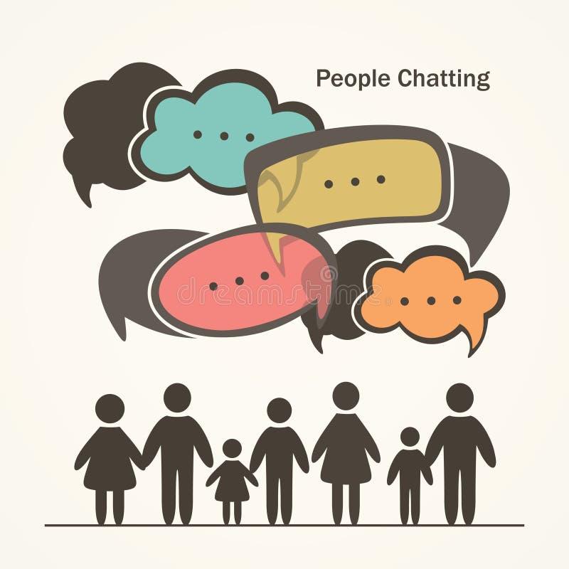 Άνθρωποι με τις ζωηρόχρωμες λεκτικές φυσαλίδες διαλόγου απεικόνιση αποθεμάτων