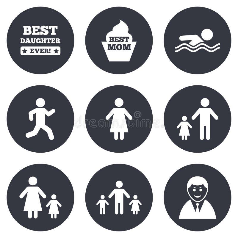 Άνθρωποι, οικογενειακά εικονίδια Κολύμβηση, σημάδια προσώπων διανυσματική απεικόνιση