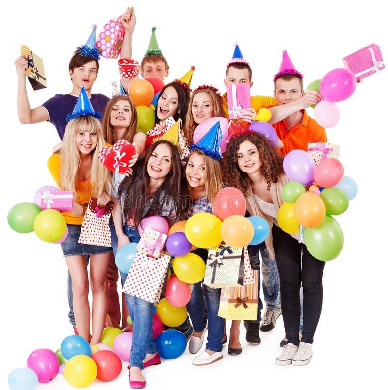 Άνθρωποι ομάδας με το μπαλόνι στο συμβαλλόμενο μέρος. στοκ φωτογραφίες