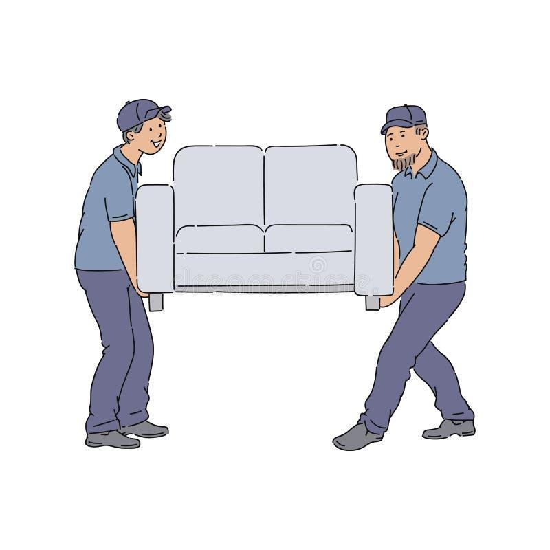 Άνθρωποι παράδοσης που κινούν έναν καναπέ, νέα άτομα υπηρεσιών με τις στολές που παραδίδουν έναν νέο καναπέ στο σπίτι διανυσματική απεικόνιση