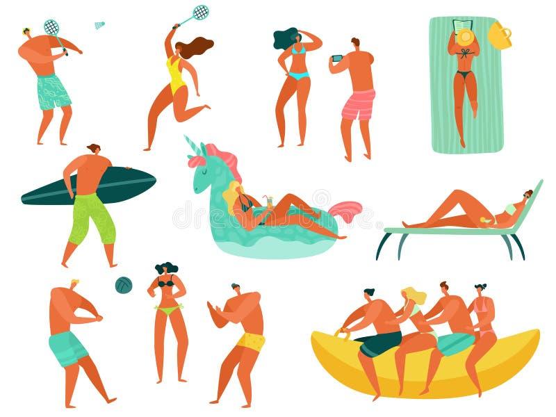 Άνθρωποι παραλιών Η ωκεάνια οικογένεια θάλασσας θερινών διακοπών χαλαρώνει τους παίζοντας αθλητικούς ανθρώπους που κολυμπούν χαρα απεικόνιση αποθεμάτων