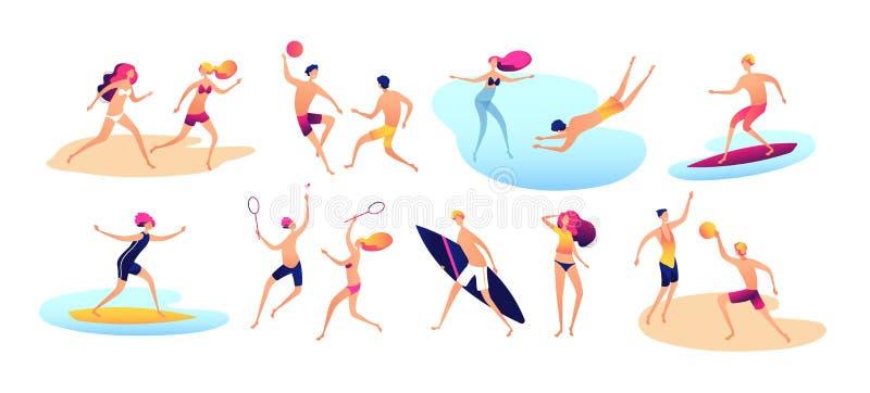 Άνθρωποι παραλιών Θερινών διακοπών παίζοντας αθλητική στάση γυναικών ανδρών οικογενειακών παραλιών ενεργός που κάνει ηλιοθεραπεία απεικόνιση αποθεμάτων