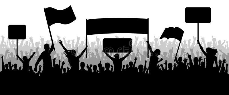 Άνθρωποι πλήθους με τη διαφάνεια, διαμαρτυρία, επίδειξη, σκιαγραφία ελεύθερη απεικόνιση δικαιώματος
