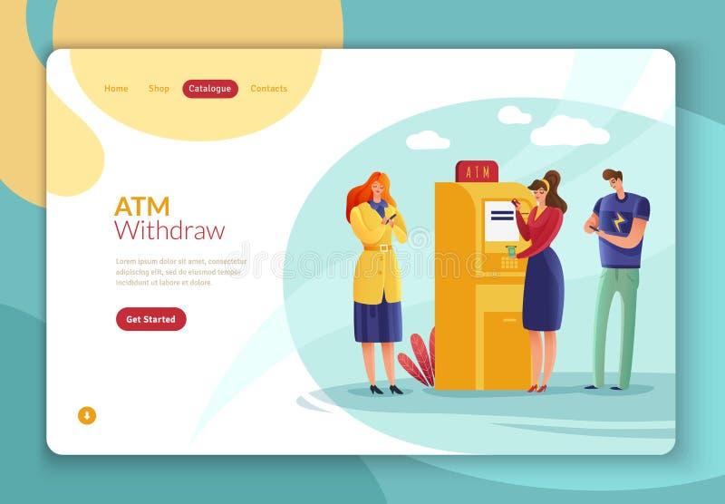 Άνθρωποι πληρωμών του ATM που προσγειώνονται τη σελίδα ελεύθερη απεικόνιση δικαιώματος