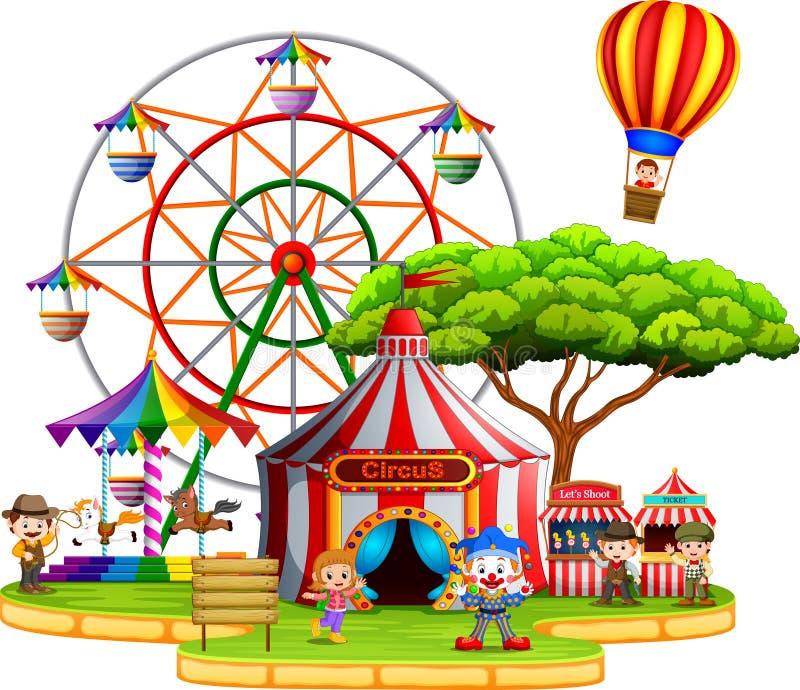 Άνθρωποι που έχουν τη διασκέδαση στο τσίρκο διανυσματική απεικόνιση