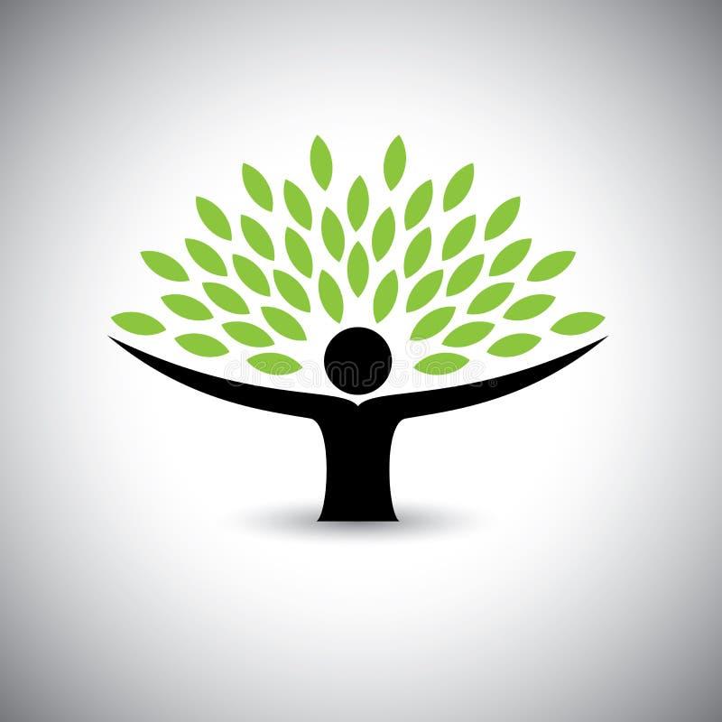 Άνθρωποι που αγκαλιάζουν το δέντρο ή τη φύση - διάνυσμα έννοιας τρόπου ζωής eco απεικόνιση αποθεμάτων