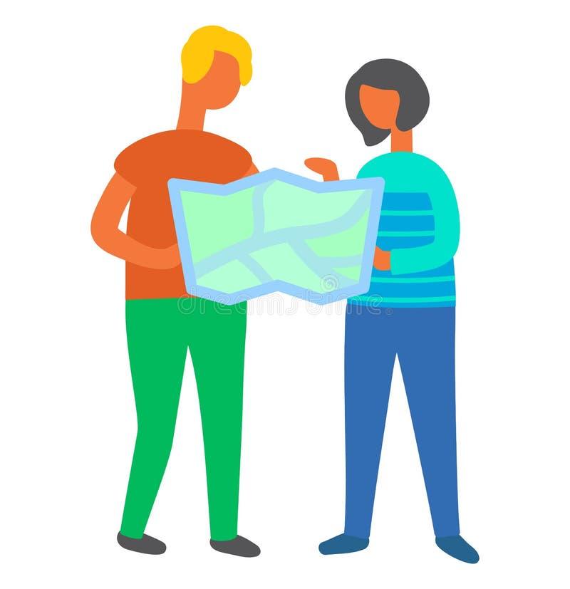 Άνθρωποι που βρίσκουν τον τρόπο τους, ζεύγος που χρησιμοποιεί τις πληροφορίες χαρτών διανυσματική απεικόνιση