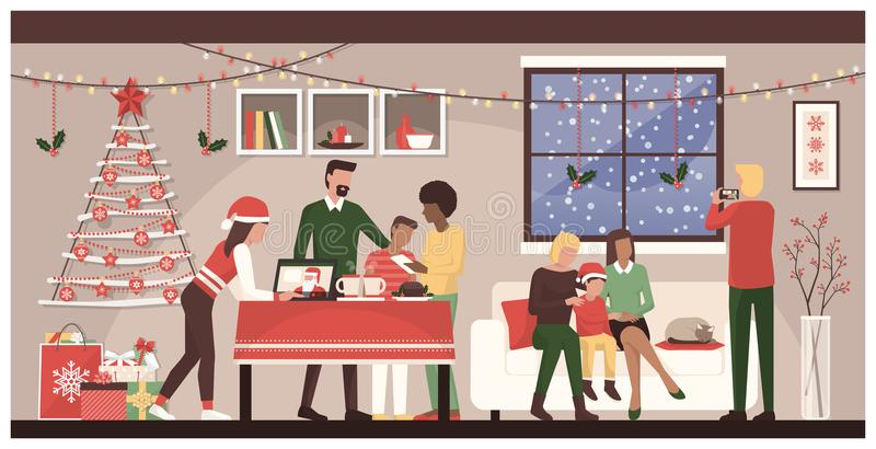Άνθρωποι που γιορτάζουν τα Χριστούγεννα στο σπίτι διανυσματική απεικόνιση