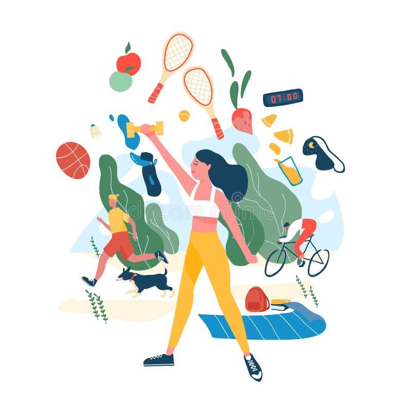 Άνθρωποι που εκτελούν τις αθλητικές δραστηριότητες ή την άσκηση και τα θρεπτικά τρόφιμα Έννοια των υγιών συνηθειών, ενεργός τρόπο ελεύθερη απεικόνιση δικαιώματος