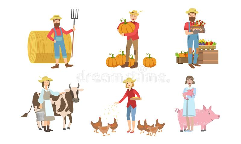 Άνθρωποι που εργάζονται στο αγρόκτημα και στον κήπο, άνδρες και γυναίκες γεωργοί Χαρακτήρες συγκομιδής, σίτισης ζώων Φορέας απεικόνιση αποθεμάτων