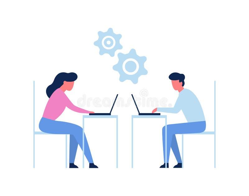 Άνθρωποι που εργάζονται στο lap-top στην αρχή Συνεδρίαση εργαζομένων διανυσματική απεικόνιση