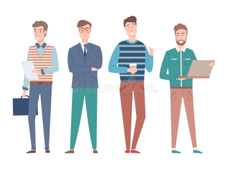 Άνθρωποι που εργάζονται ως Freelancers, ευτυχείς επιχειρηματίες διανυσματική απεικόνιση