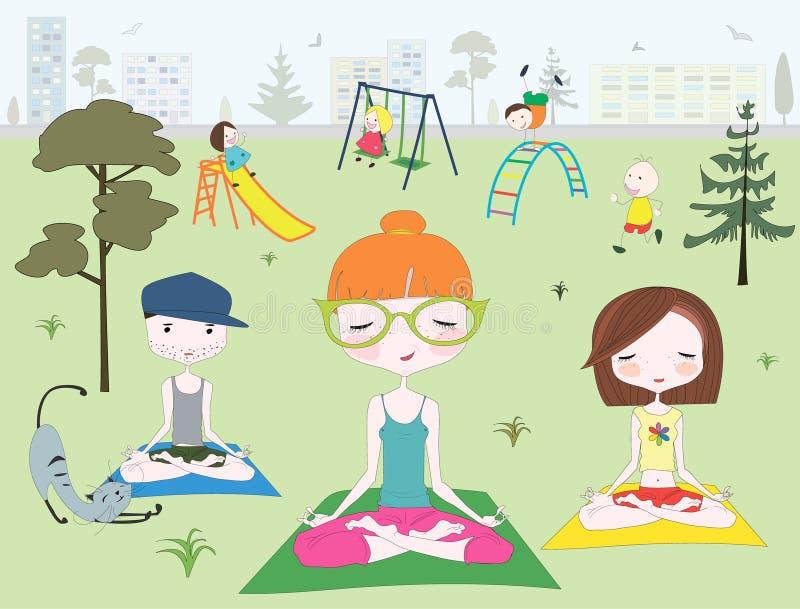 Άνθρωποι που κάνουν τη γιόγκα στο πάρκο κοντά στην παιδική χαρά των παιδιών απεικόνιση αποθεμάτων