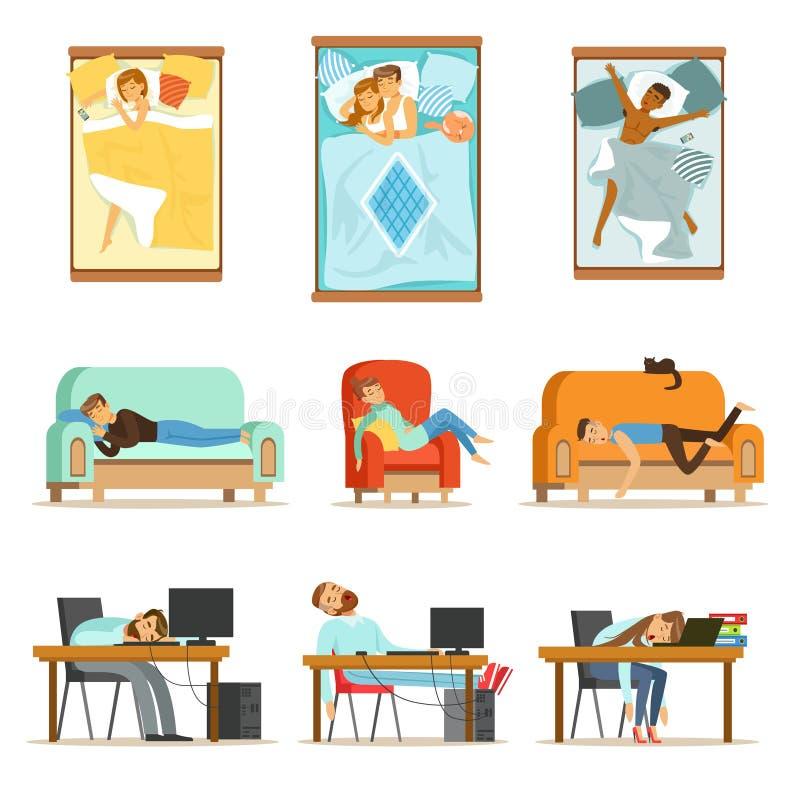 Άνθρωποι που κοιμούνται στις διαφορετικές θέσεις στο σπίτι και στην εργασία, κουρασμένοι χαρακτήρες που φτάνει στο σύνολο ύπνου α ελεύθερη απεικόνιση δικαιώματος