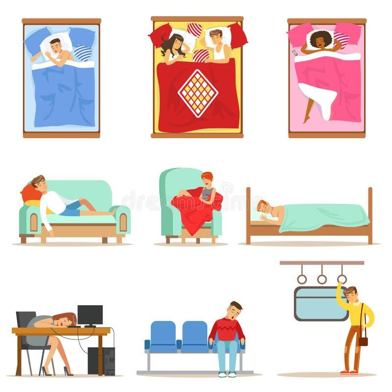 Άνθρωποι που κοιμούνται στις διαφορετικές θέσεις στο σπίτι και στην εργασία, κουρασμένοι χαρακτήρες που φτάνει στη σειρά ύπνου απ απεικόνιση αποθεμάτων