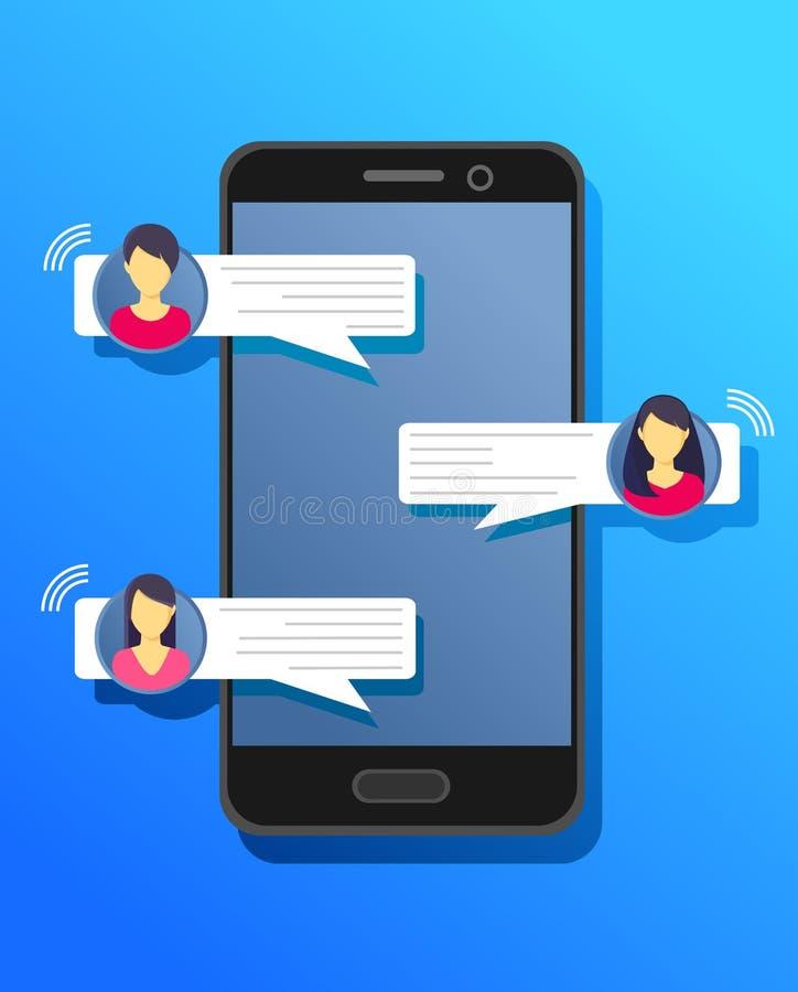 Άνθρωποι που κουβεντιάζουν σε κινητό Ανακοίνωση συνομιλίας στο τηλέφωνο, φυσαλίδες μηνυμάτων στην οθόνη με τα είδωλα 10 eps διανυσματική απεικόνιση