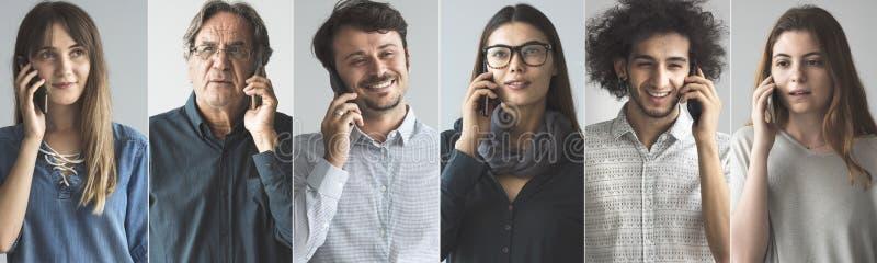 Άνθρωποι που μιλούν στο κινητό τηλέφωνο στοκ εικόνες
