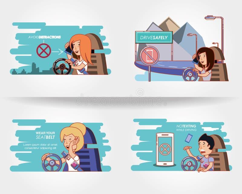 Άνθρωποι που οδηγούν με τα εικονίδια οδηγών ακίνδυνα διανυσματική απεικόνιση