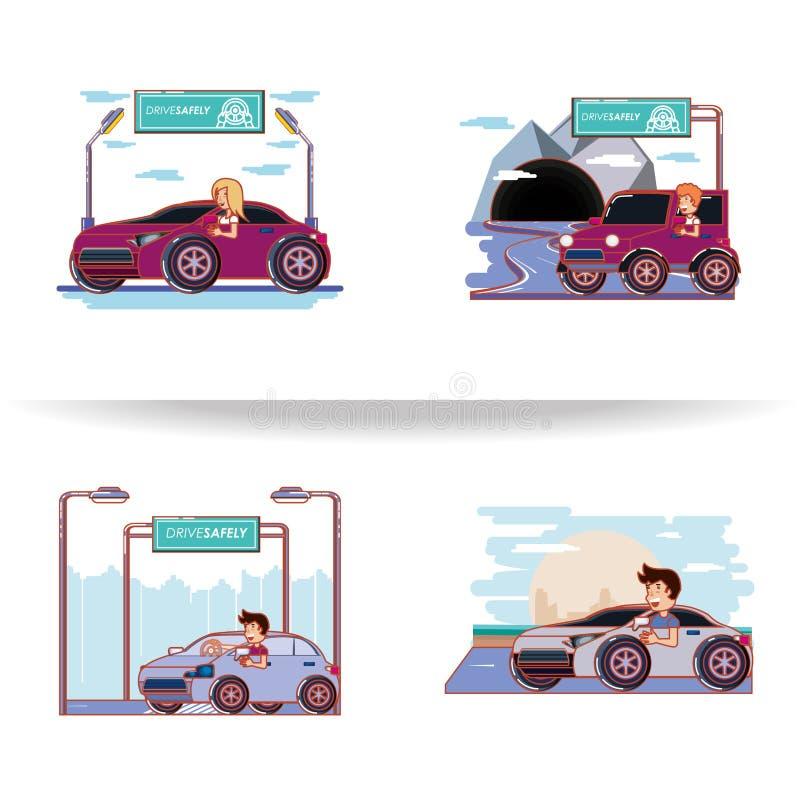 Άνθρωποι που οδηγούν με τα εικονίδια οδηγών ακίνδυνα ελεύθερη απεικόνιση δικαιώματος
