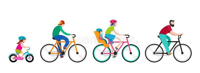 Άνθρωποι που οδηγούν στα ποδήλατα στο πάρκο, ενεργές οικογενειακές διακοπές απεικόνιση αποθεμάτων