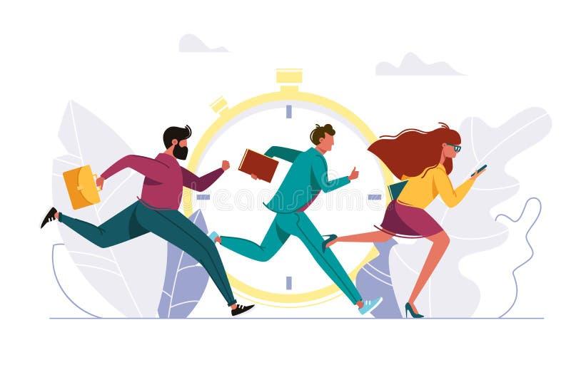 Άνθρωποι που ορμούν στην εργασία, τρέχοντας πρόσωπο ελεύθερη απεικόνιση δικαιώματος