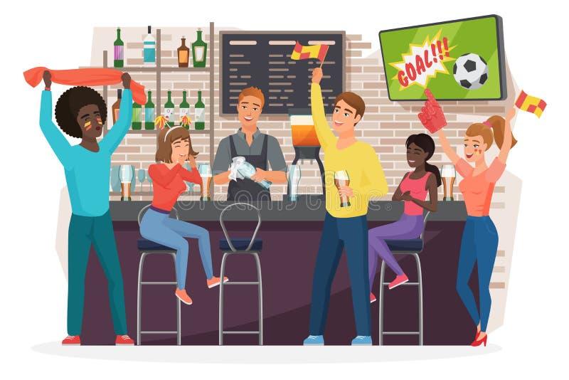 Άνθρωποι που πίνουν την μπύρα στην επίπεδη διανυσματική απεικόνιση φραγμών απεικόνιση αποθεμάτων