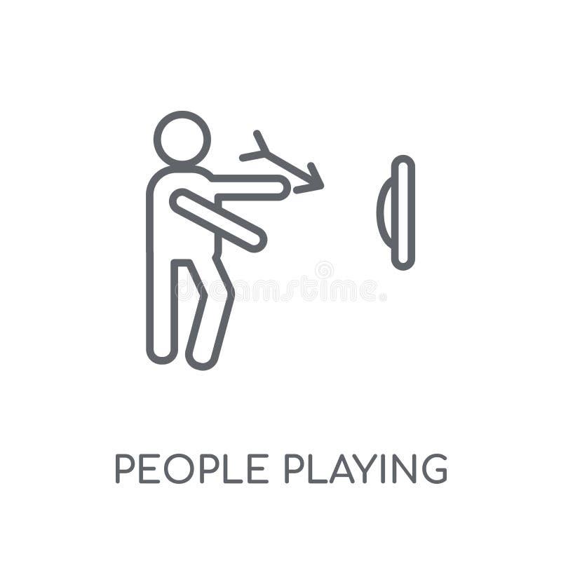 Άνθρωποι που παίζουν το γραμμικό εικονίδιο εικονιδίων βελών Σύγχρονο pla ανθρώπων περιλήψεων διανυσματική απεικόνιση