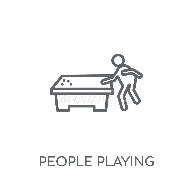 Άνθρωποι που παίζουν το γραμμικό εικονίδιο εικονιδίων μπιλιάρδου Σύγχρονοι άνθρωποι περιλήψεων ελεύθερη απεικόνιση δικαιώματος