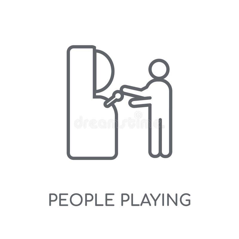 Άνθρωποι που παίζουν το γραμμικό εικονίδιο εικονιδίων παιχνιδιών Arcade Σύγχρονη περίληψη Peop διανυσματική απεικόνιση