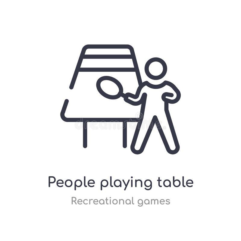 άνθρωποι που παίζουν το εικονίδιο περιλήψεων επιτραπέζιας αντισφαίρισης απομονωμένη διανυσματική απεικόνιση γραμμών από την ψυχαγ ελεύθερη απεικόνιση δικαιώματος