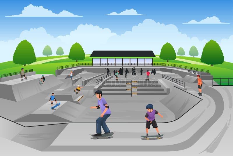 άνθρωποι που παίζουν skateboard απεικόνιση αποθεμάτων