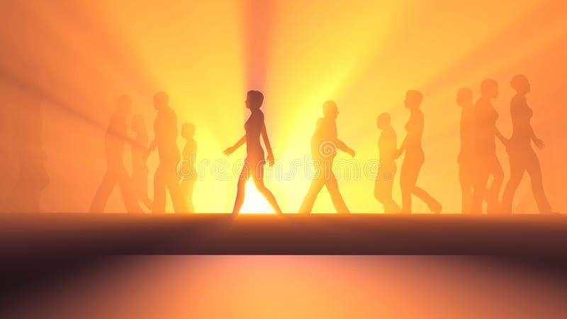 Άνθρωποι που περπατούν στην ομίχλη διανυσματική απεικόνιση